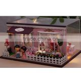 Adult wooden doll houses with light, handmade wooden doll house, DIY wooden toy house in glass