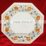 Marble Flower Inlay Table Top With Marquetry Art Work