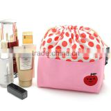 wholesale drawstring canvas cosmetic bag two colors fabrics with lable