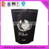 High quality laminated black stand up coffee bean pouch