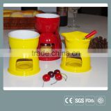 Ceramic mini chocolate fondue pot cheese ceramic fondue set                                                                         Quality Choice