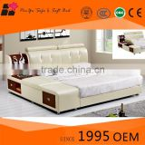 Latest italian bedroom furniture metal beige color leather bed designs                                                                         Quality Choice