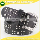 Women's classical metal and rhinestone studded 33Mm belt leather with shiny rhinestone buckle