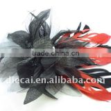 Feather Flower Bridal Fascinator Hair Comb