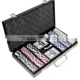 Deluxe Cansino Style Poker Chip Set With Wooden Case/Fat Cat Hold'em Dealer Wooden Quality Poker Chip                                                                         Quality Choice
