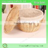 French bread baskets with fabric Wicker storage baskets with cover Rattan wicker bread baskets