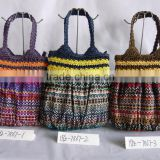 Casual stampa paper crochet handle paper straw bag