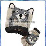 dog knit hat and gloves mitten with 3D ears for boys