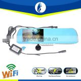 wireless wifi transfer android bluetooth rearview mirror handsfree car kit monitor + wireless backup reverse camera