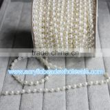 25M/lot 6MM Flat Back Pearl Beads Trimming Wedding Centerpiece Flower/Table Decoration Chandelier Crafting DIY Accessory