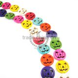 1 string 15inch 25mm vintage mix color dyeing turquoise large round pumpkin face unique Halloween beads 3010004