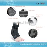 Double protecting bandage sports and medical uses lace up ankle brace with flexible plastic support frame
