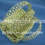 Rectangle gold wire decorative with pearl storage basket