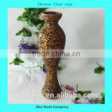 Modern Golden with Black Crackle Mosaic Mermaid Shape Large Tall Chinese Floor Vase