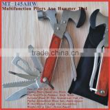 "(MT-145AHW) 6.5"" S/Steel Pakka Wood Handle 14 in 1 Multi-function Combination Ax Hatchet Pliers Hammer Tool"