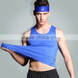 The summer high elastic tight quick-drying sports vest breathable fitness blank gym singlet tank top for men