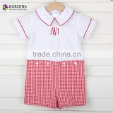 Kids boutique clothing cotton short sleeve doll neck embroidery with red pleated shorts set for baby boy clothes