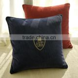 Cotton corduroy fabric with embroideried logo brand square promotion gift with zip corduroy cushion