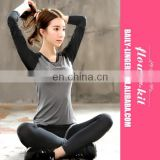 Fashion Women Quick Dry Yoga Sets Running Clothes Full Length T shirts Fake Yoga Pants Fitness Sports Suit