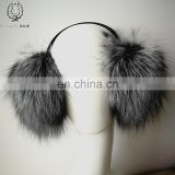 Fashinable Fox Fur Earmuffs High Quality White Natural Raccoon Fur Ball Earflap Winter Fur Earshield