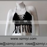 SUMMER CROCHET TOP Summer Festival Top Yoga Corset Hippie Knit Black Lace Sexy Bra Halter Top