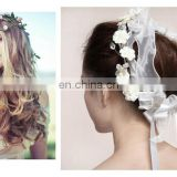 2014 Latest Fashion&Elegant Artificial Flower Head band Jewelry ,Romantic wedding/Bridal Head Wreath,New Design for Girls
