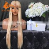 8A Grade Silky Straight Middle Part Blonde Wig Virgin Brazilian Human Hair Wig With #613 Light Color Long Hair 26Inch In Stock