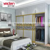 bedroom furniture wardrobe with mirror and 3 sliding door with aluminium profile doors