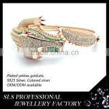 Animal 925 sterling silver bangles for men setting green CZ and white natural stone bangle