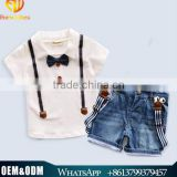 Latest Design European Style Casual Cotton Clothes Set 2016 Gentleman Bow Tie Cotton Top With Nevy Blue Denim Jean Shorts