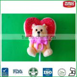 Lovely Big Heart Bear Shaped Soft Lollipop Fruit Flavor Sugar coated Marshmallow with Stick