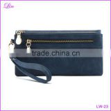 Matte PU Leather Double Zipper Soft Wallet Ladies Long Day Clutch Coin Purse Card Holder