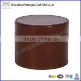 Top grade simple design handmade real leather round tobacco box