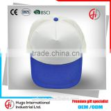OEM Unisex 100% Cotton Curve Sandwich Promotional Blank Blue Color Outdoor Sport Baseball Mesh Cap With Plastic buckle