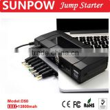 SUNPOW 13,600mAh super power bank portable 12V gasoline and diesel Li-polymer battery charger car jump starter booster