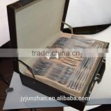 Stainless steel 84pcs flatware sets packed in leather box-- nicely cheap and high quality