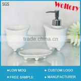 Bathtub shape ceramic bathroom bath accessories set/Tumbler, toothbrush holder, soap dish, soap dispenser