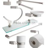 8 Piece square Wall Kit Includes: Robe Hook, Soap Dish, Double Towel Handle, Towel Bar, Glass Shelf, Tumbler, TP holder..