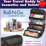 4 COMPARTMENT ROLL-N-GO COSMETIC BAG HANGING TOILETRY BAG JEWELRY BAG Roll Up Bathroom Organizer