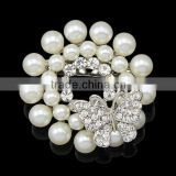 Hot style Chic elagant jewelry Fashion brooch simple brooch silver&black pearl crystal rhinestone brooch pin
