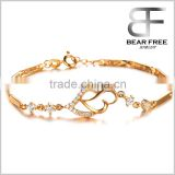 Fashion Jewelry 18k Gold Plated Elegant Women's Link Bracelet Double Heart Gold Bracelet Wedding Gifts