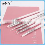ANY Nail Art Beauty Care Nail Decorative and Painting White 7PCS Nail Brush Set Nylon Hair