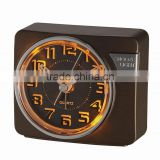 Black dial touch LED light hand size alarm clock