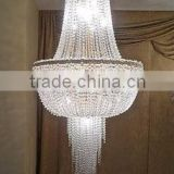 "0803-10 VENETIAN STYLE CLEAR MURANO GLASS BALL FRENCH GOLD FINISH HANGING CHANDELIER LAMP (36""-48"" H X 16""-30"" W)                                                                         Quality Choice"