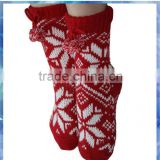 red and white snowflake knitted adult anti slip sock for women