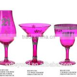 colorful pink gift glass for birthday gift party glass