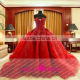KEL03 Luxury Sweetheart Red Wedding Dresses Heavy Beaded Puffy Ball Gown Arab Wedding Dresses