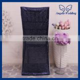 CH004D Discount cheap wedding metalic dark navy blue sequin chair cap