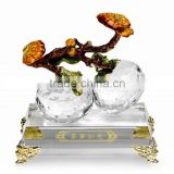 RORO Everything Satisfactory persimmon enamel crystal glass decorative article for home decoration/gift