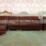 hot brown leather living room l shaped sofa